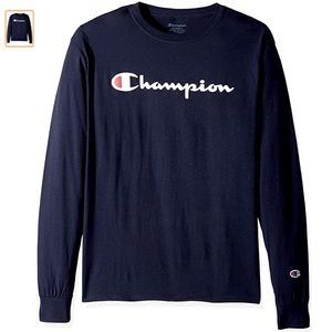 Mens Small Champion Long Sleeve Graphic Tee Navy